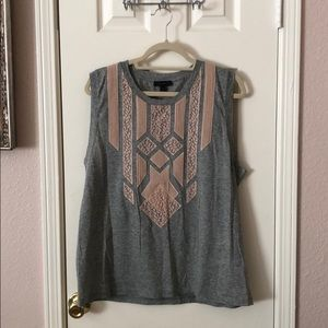 J. Crew Gray Pink Lace Tank Top